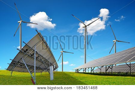 Solar panels with wind turbines. Power plant using renewable energy.