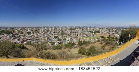 Aerial View Cityscape Of Cholula