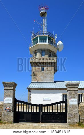 POINTE DU RAZ, FRANCE - JULY 2, 2014: Coastal observation tower around Pointe du Raz in Brittany, France