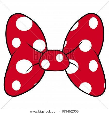 perfect bow of red fabric white dots pattern vector decoration for hair meme