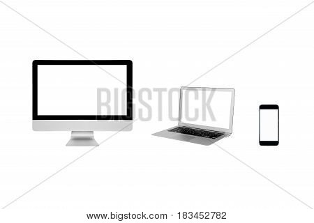 Smart Modern Computer Pc,laptop And Smartphone With Blank Screen Isolated On White Background.photo