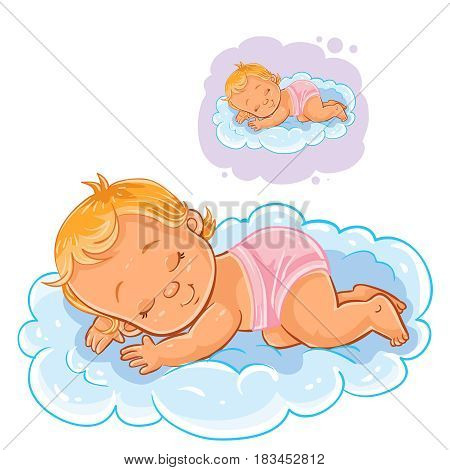 Vector illustration of a small baby in a diaper asleep using a cloud instead of a pillow. Print