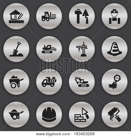 Set Of 16 Editable Structure Icons. Includes Symbols Such As Handcart , Endurance , Construction Tools. Can Be Used For Web, Mobile, UI And Infographic Design.