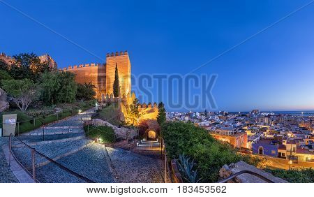 Panoramic view on city skyline and walls of Alcazaba fortress in Almeria Andalusia Spain