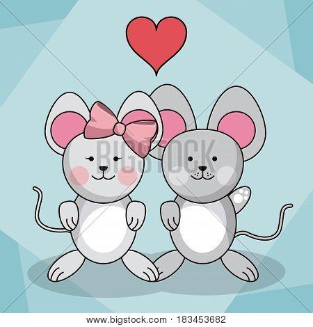 loving couple mice animal baby heart decoration vector illustration