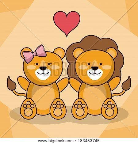loving couple lion animal baby heart decoration vector illustration