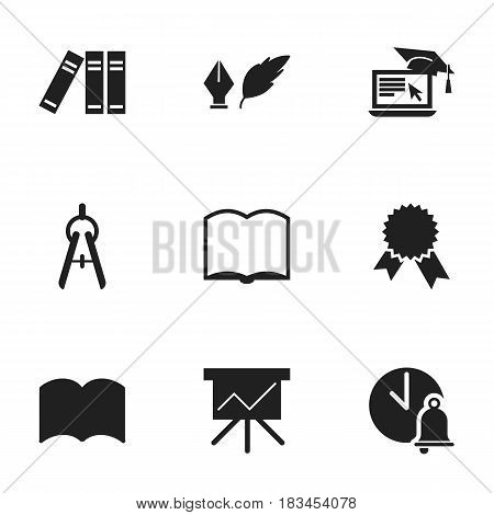 Set Of 9 Editable University Icons. Includes Symbols Such As Distance Learning, Math Tool, Bookshelf And More. Can Be Used For Web, Mobile, UI And Infographic Design.