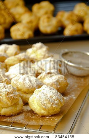 Wind Cakes With Mascarpone Cheese Filling In Kitchen