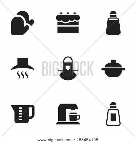 Set Of 9 Editable Meal Icons. Includes Symbols Such As Pastry, Kitchen Hood, Kitchen Glove And More. Can Be Used For Web, Mobile, UI And Infographic Design.