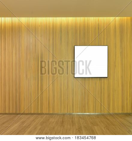 Empty Picture Frame In Wood Slats Wall Inside Of Home, Mock Up