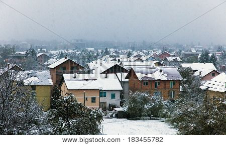 Snow in a town. Late afternoon. Bosnia and Herzegovina