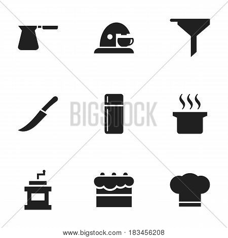 Set Of 9 Editable Cook Icons. Includes Symbols Such As Soup Pot, Pastry, Sword And More. Can Be Used For Web, Mobile, UI And Infographic Design.