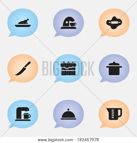 Set Of 9 Editable Cooking Icons. Includes Symbols Such As Salver, Dough, Drink Maker And More. Can Be Used For Web, Mobile, UI And Infographic Design.