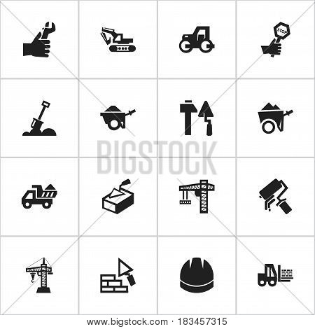 Set Of 16 Editable Structure Icons. Includes Symbols Such As Hardhat , Handcart , Trolley. Can Be Used For Web, Mobile, UI And Infographic Design.