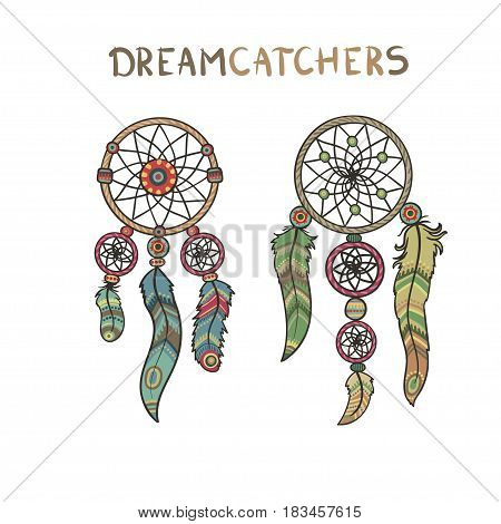 Handmade Dreamcatcher set, vector isolated on white background illustration. Boho, tribal and ethnic style art. Retro element.