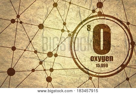 Oxygen chemical element. Sign with atomic number and atomic weight. Chemical element of periodic table. Molecule And Communication Background. Connected lines with dots. Grunge texture