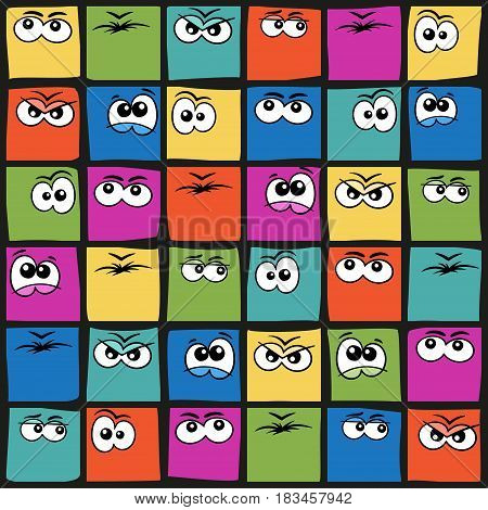 Square smiles. Vector colorful faces with cartoon emotions.