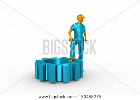 Young man wearing apron and standing at the gear. 3D rendering. Metallic material.
