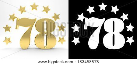 Golden number seventy eight on white background with drop shadow and alpha channel decorated with a circle of stars. 3D illustration