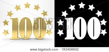 Golden number one hundred on white background with drop shadow and alpha channel decorated with a circle of stars. 3D illustration