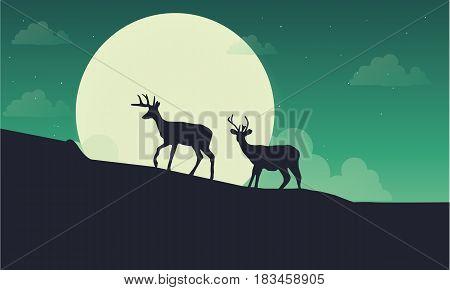Deer with moon scenery silhouette vector art