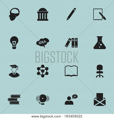 Set Of 16 Editable University Icons. Includes Symbols Such As Envelope, Ring, Cerebrum And More. Can Be Used For Web, Mobile, UI And Infographic Design.
