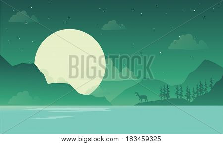 At night mountain scenery with deer silhouette illustration