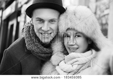 Beautiful young couple outdoor