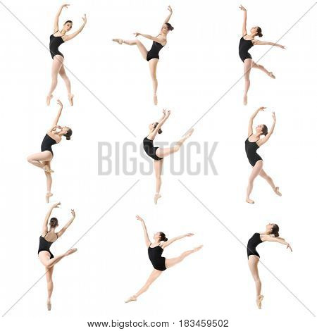 Collage of beautiful ballet dancer on white background