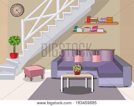 Modern living room with stairs. Bright colorful furniture - sofa, table, armchair and bookshelves. Flat style vector illustration