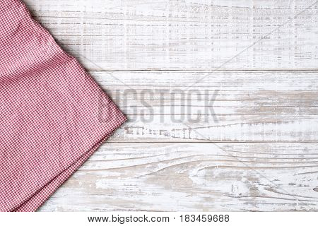 tablecloth on white wooden table top view