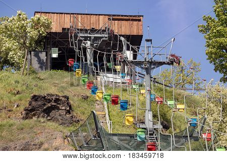 coloured funicular ZOO Prague Czech republic Lift station and cable car in Prague ZOO. Travel destination. Tourism theme.