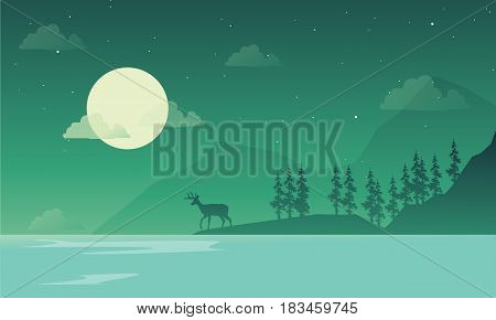 Scenery at night mountain silhouettes vector illustration