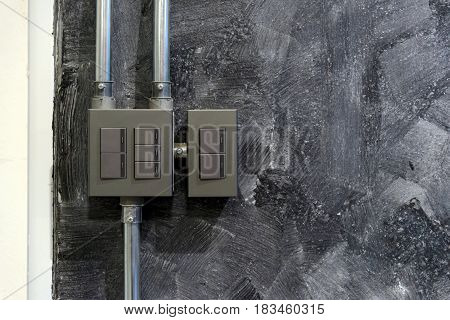Switch Control Box On The Back Wall Of Factory