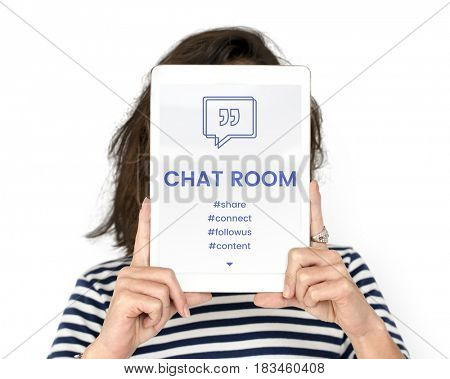 Chat Room Speech Bubble with Quotation Mark