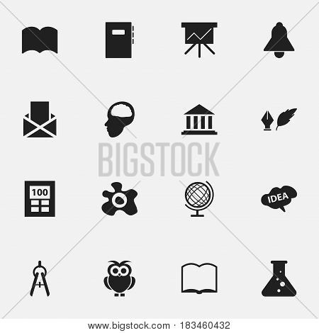 Set Of 16 Editable School Icons. Includes Symbols Such As Earth Planet, Literature, Dictionary And More. Can Be Used For Web, Mobile, UI And Infographic Design.