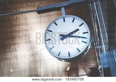 Time management and scheduling concept. Analog clock surrounded with digital time codes, AM and PM.