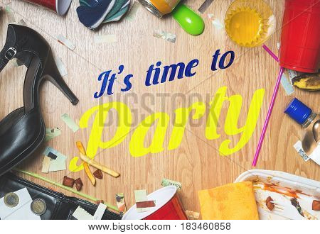 It's time to party. Festive and fun hangover or after party themed invitation or advertisement to celebration.