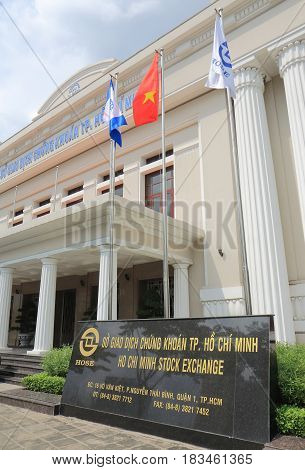 HO CHI MINH CITY VIETNAM - NOVEMBER 30, 2016: Ho Chi Minh Stock Exchange building.