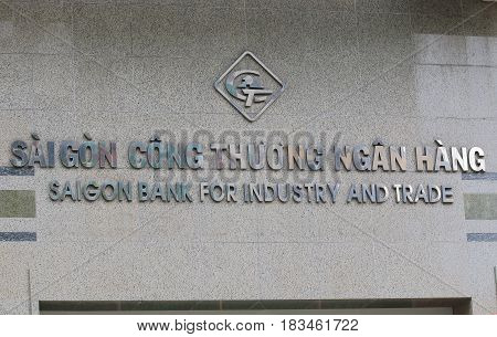 HO CHI MINH CITY VIETNAM - NOVEMBER 30, 2016: Saigon Bank for Industry and Trade. Saigon Bank for Industry and Trade is a Vietnamese bank and  apart of the Saigon Bank group.
