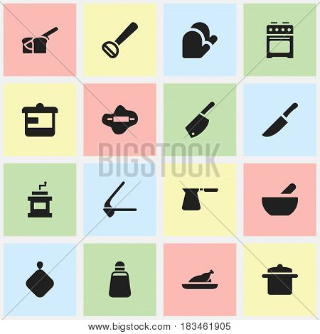 Set Of 16 Editable Meal Icons. Includes Symbols Such As Mocha Grinder, Husker, Coffee Pot And More. Can Be Used For Web, Mobile, UI And Infographic Design.