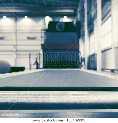 Shot blasting machine for processing of metal plates and profiles