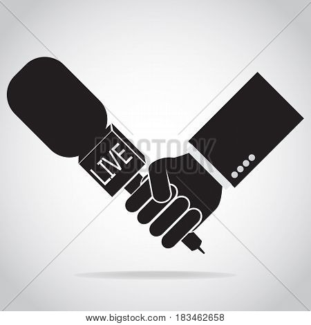 Hand holding microphone icon interview answering question concept