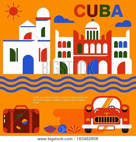 Cube illustration. Vector icons of Cuban culture and architecture