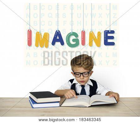 Little Boy Reading Books Imagine Word Background