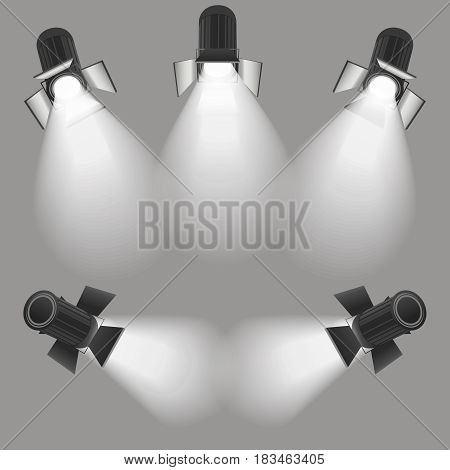 Realistic Light Scenic Spotlight Set for Concert, Stage, Scene and Show on Grey. Vector illustration