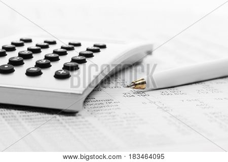Financial accounting. Pen and calculator