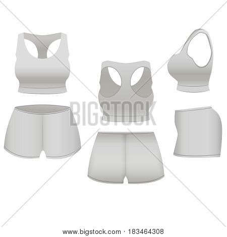 Realistic Template Blank White Shorts and Top Basic Women Clothing for Sport, Fitness. Vector illustration
