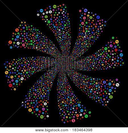 Financial Seal fireworks swirl rotation. Vector illustration style is flat bright multicolored iconic symbols on a black background. Object whirlpool organized from random pictographs.
