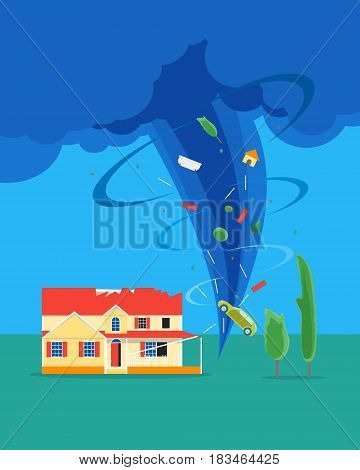 Cartoon Tornado or Hurricane Destroy House Concept Insurance Flat Style Design Elements Disaster Concept Insurance. Vector illustration